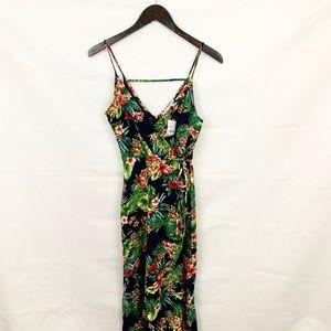 NWT Lush Navy & Green Floral Print Wrap Dress